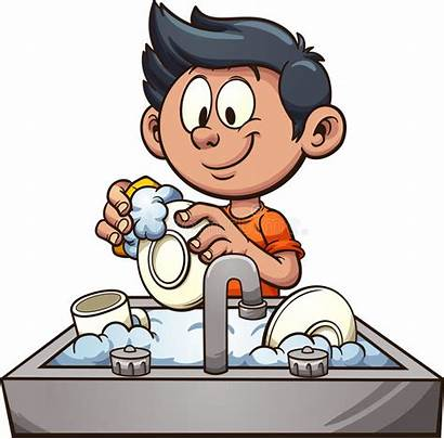 Dishes Washing Clip Boy Vector Clipart Illustration