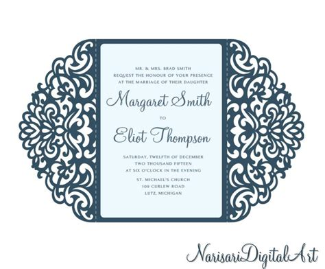 Ornamental 5x7'' Gate fold Wedding Invitation Card