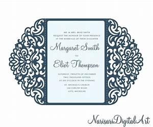 ornamental 5x73939 gate fold wedding invitation card With cricut wedding invitations svg