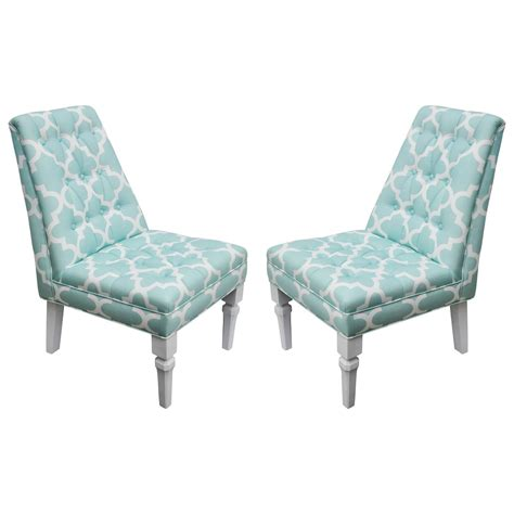vintage moroccan style pr of turquoise white upholstered
