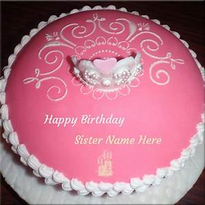 Write Name On Happy Birthday Cake For Sister