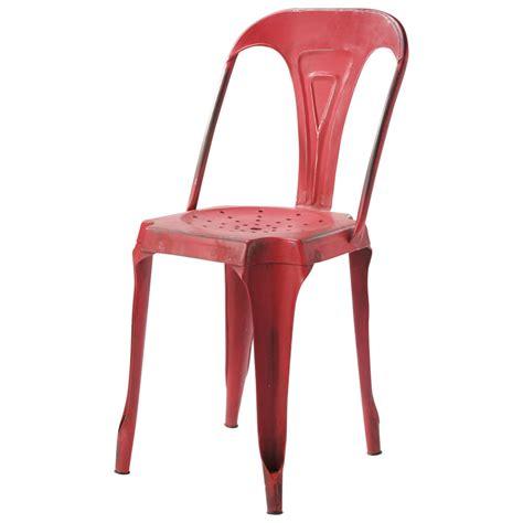 chaise indus en metal rouge multipls maisons du monde