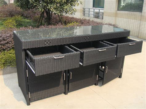 aluminum frame and resin wicker bar set bar table for indoor