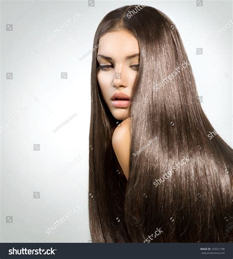 Shiny Brown Hair Dye by Hair Healthy Shiny Stock Photo 153521708