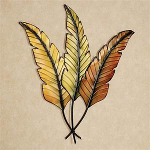 Banana leaves metal wall art for Leaf wall decor