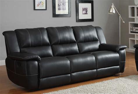 sofa recliner homelegance cantrell reclining sofa set black bonded Leather
