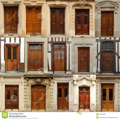 wooden doors collage stock photo image  architectural