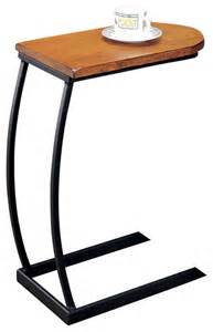 u shaped distressed oak wood black metal base accent end chair side snack table transitional