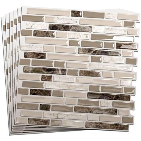 kitchen backsplash stick on tiles smart tiles 6 pack white beige brown glossy composite