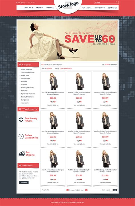 Ebay Store Design Templates Free by Unique Ebay Store Templates Listing Auction Html