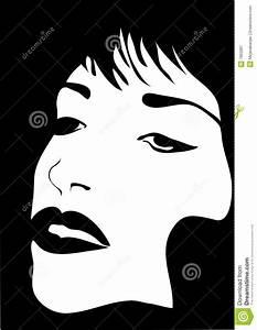 Fille Noir Et Blanc : visage noir et blanc de fille illustration de vecteur ~ Melissatoandfro.com Idées de Décoration