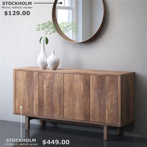 Ikea Stockholm Sideboard by Ikea Stockholm Sideboard And Mirror 3d Cgtrader