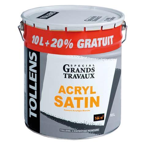 peinture acrylique blanche peinture acrylique satin 10l 20 tollens peinture blanche mur plafond peinture int 233 rieur