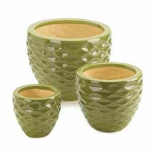 Home Locomotion Ceramic Green Planter Set, Planters And