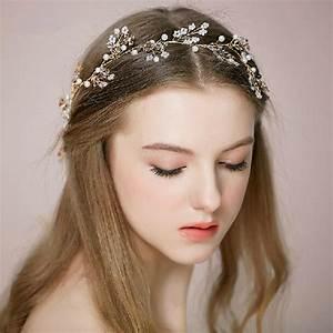 Crystal Pearl Gold Bridal Headband Tiara EWAHP024 As Low