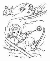 Coloring Winter Skiing Slip Little Down Season Kid While Colornimbus sketch template