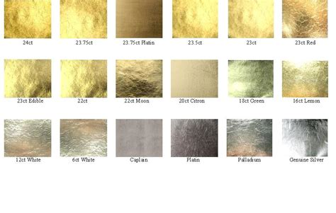 Golden Colour Chart by Noris Or En Feuilles Argent En Feuilles Palladium En