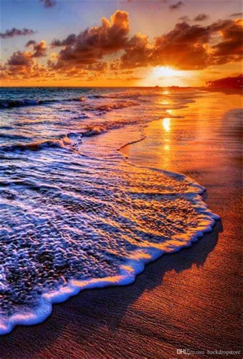 2019 Beautiful Sunset Scenery Beach Photography Backdrops