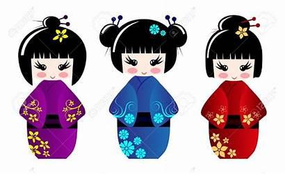 Geisha Clipart Dolls Kokeshi Japanese Vector Illustration