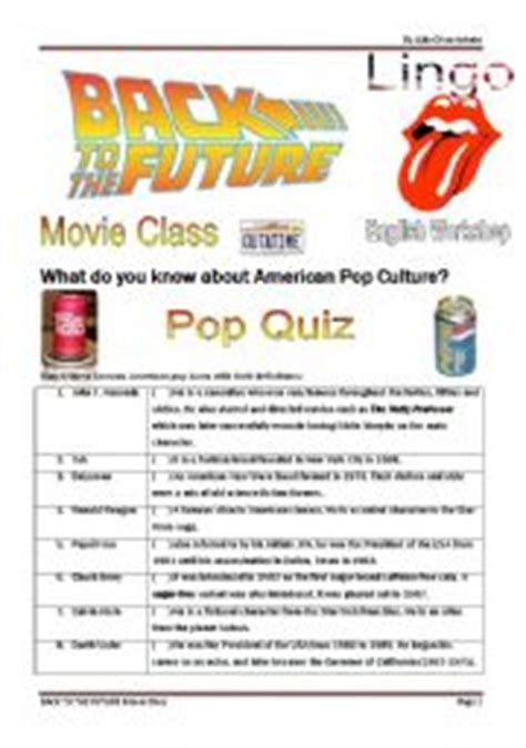 back to the future quiz and song activity 4 pages