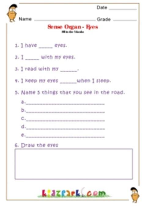 write and draw sense organs class 3 evs worksheet