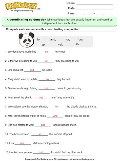 coordinating conjunctions worksheet turtle diary