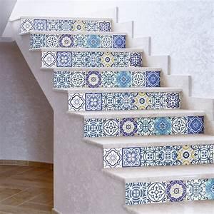 Escalier Carreaux De Ciment : stickers escalier carreaux de ciment romina x 2 ambiance ~ Dailycaller-alerts.com Idées de Décoration