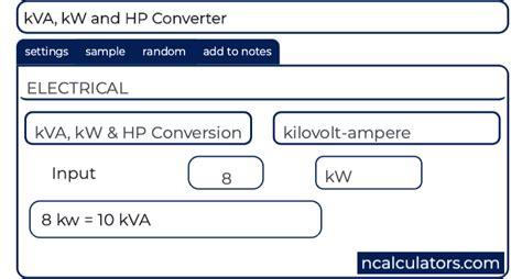 kva kw  hp converter