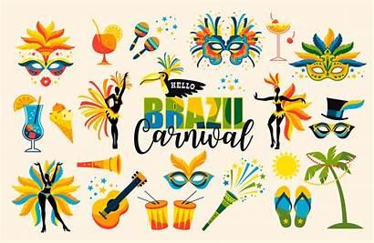 Carnival Brazilian Vector Icons Brazil Brasil Elements