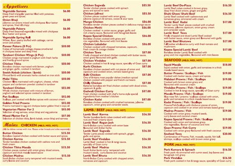 indian cuisine menu kopeo indian restaurant bar takeaway whakatane