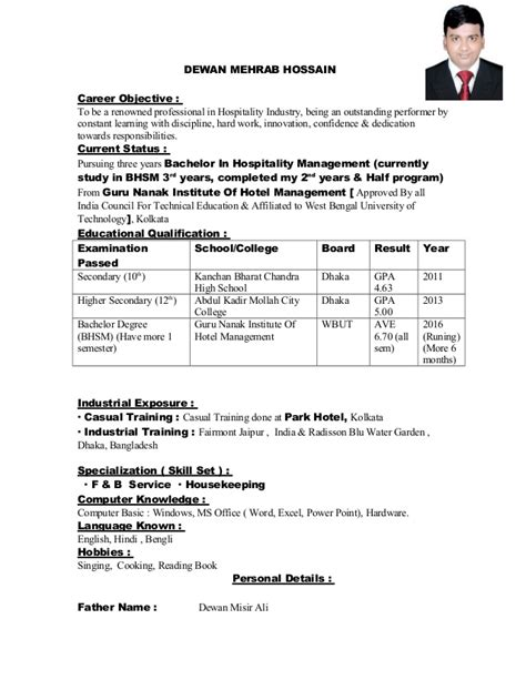 Objectives For Resumes For Hospitality Industry by Dewan Resume F B Cv