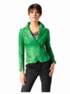 Veste Style Motard Femme : veste en cuir nappa vert sapin couleurs tendances ~ Melissatoandfro.com Idées de Décoration