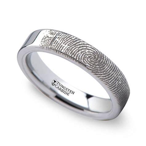 fingerprint flat wedding ring in tungsten 4mm