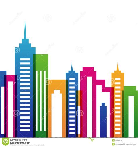 vector multicolor city buildings silhouette abstract