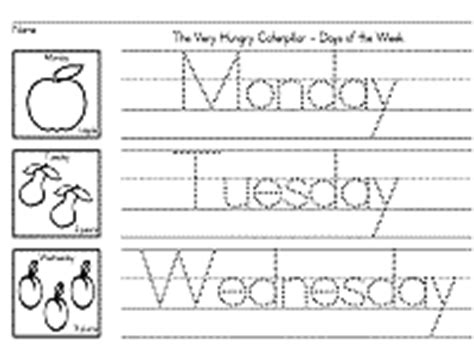 days of the week worksheets the hungry caterpillar 832 | m w zb 200px