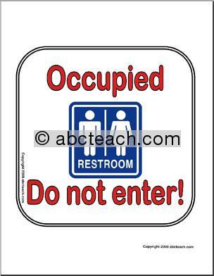 sign bathroom occupied abcteach