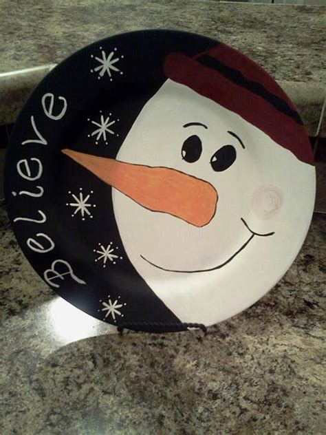 snowman charger plate crafts christmas art xmas crafts