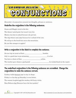 grammar review conjunctions worksheet education