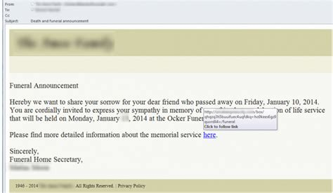 email template to announce your new and funeral announcement emails carry malicious links softpedia