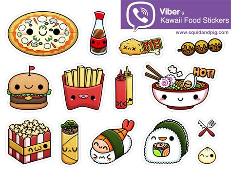 cuisine stickers kawaii food pizza