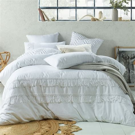 accessorize white boho tassels linen blend quilt cover set