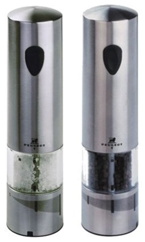 Peugeot Salt And Pepper Shakers by Peugeot Elis Stainless Steel Electric Salt And Pepper Mill