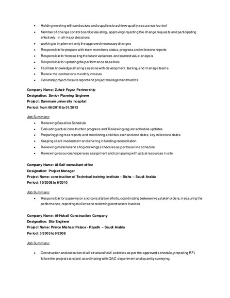 project manager senior planner cv