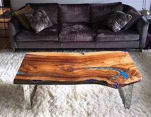 live edge coffee table with glowing resin fillin With glowing coffee table