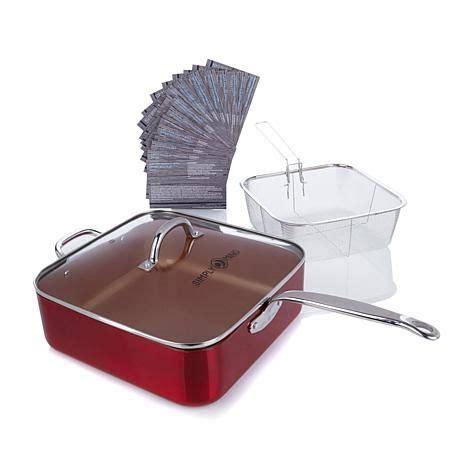 simply ming ceramic nonstick qt jumbo pan  fryer basket  hsn cookware