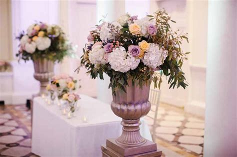 compton verney wedding flowers gold urns glass footed