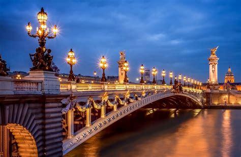 paris france town night pont alexandre iii bridge