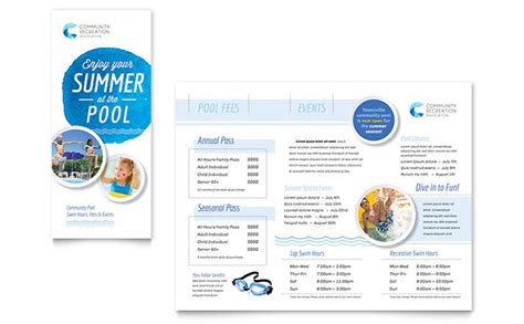 community swimming pool brochure template word publisher