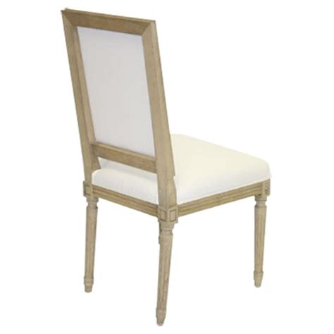 pair louis country white cotton dining chair