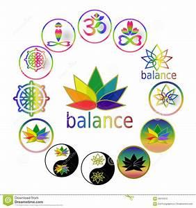 Spiritual Harmony And Balance Icons Yoga Symbols, Zen Buddhism Icons Set, Taoism Symbols, Set Of